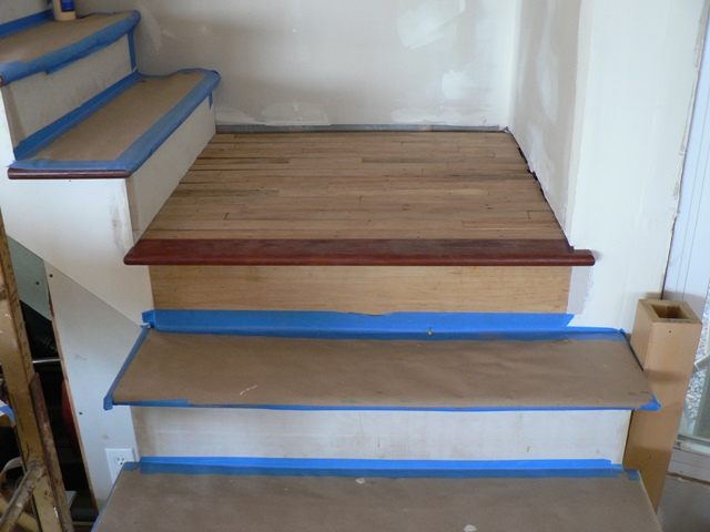 The Lower Landing: 1, The Rough Frame 2. With The Stained Landing Tread In  Place 3. With The Floorboards In Place
